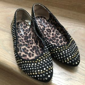 Fancy black gold sparkly shoes size 1 girls